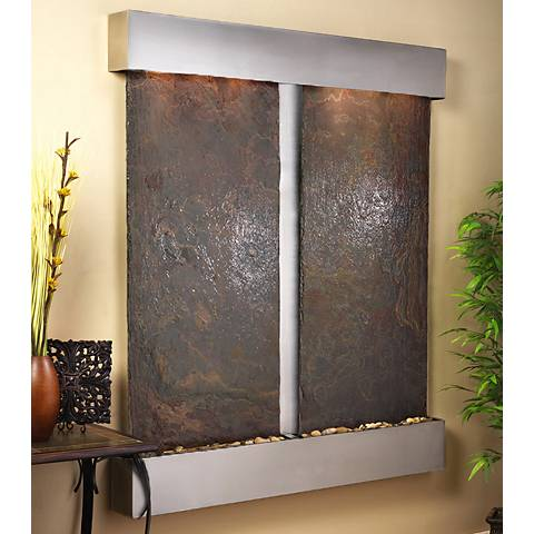 "Cottonwood Falls Steel Multicolor Slate 69""H Wall Fountain"