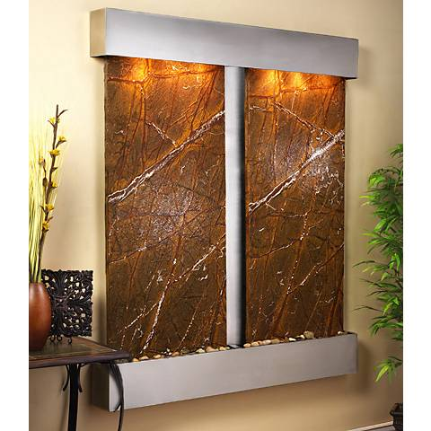 "Cottonwood Falls Steel Brown Marble 69"" High Wall Fountain"