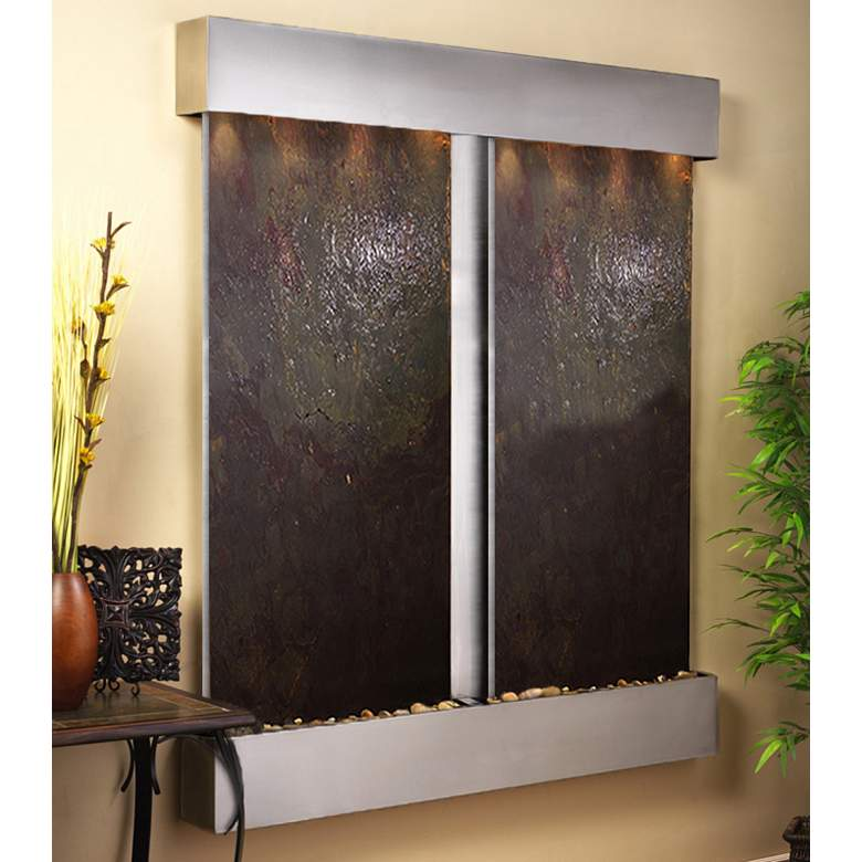 """Cottonwood Falls Steel Featherstone 69"""" High Wall Fountain"""