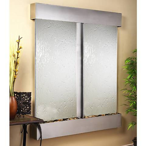 "Cottonwood Falls Stainless Steel Mirrored 69""H Wall Fountain"