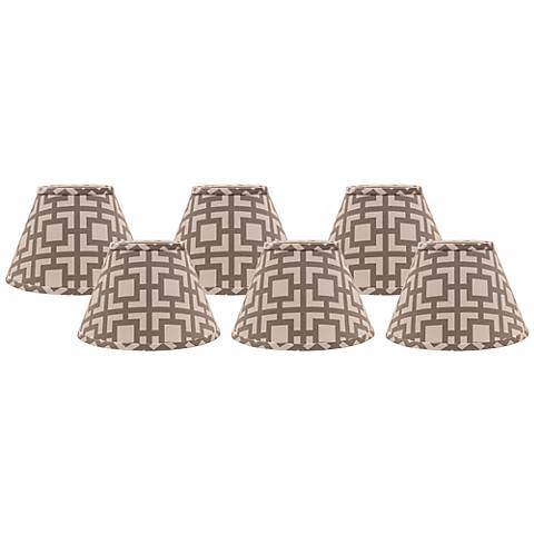 Gray Modern Square 4x6x5.25 Empire Shade Set of 6 (Clip-On)