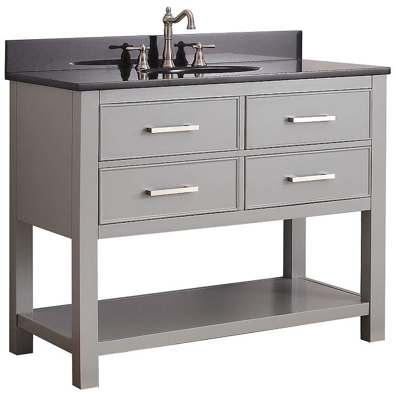 "Avanity Brooks 42"" Black Top Gray Single Sink Vanity"