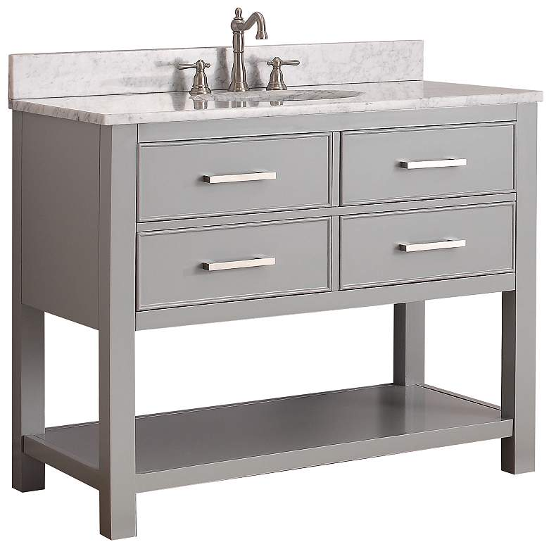 "Avanity Brooks 42"" White Top Gray Single Sink Vanity"