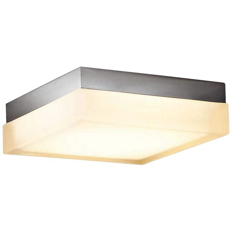 """dweLED Dice 6"""" Wide Brushed Nickel Square LED Ceiling Light"""