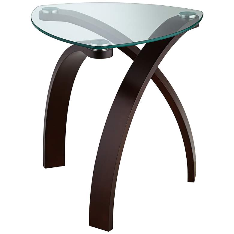 """Gianna 23 1/2"""" Wide Espresso and Glass Modern End Table"""