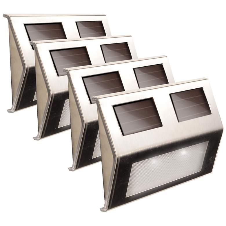 "Solar Power 5 3/4""W Stainless Steel Deck Lights"