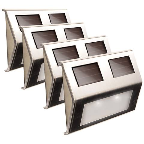 """Solar Power 5 3/4""""W Stainless Steel Deck Lights Set of 4"""