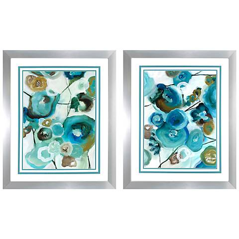 "Sapphire Blooms 2-Piece 34"" High Floral Wall Art Print Set"