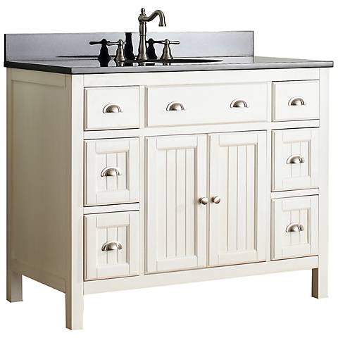 "Avanity Hamilton 42"" Black Top French White Vanity"