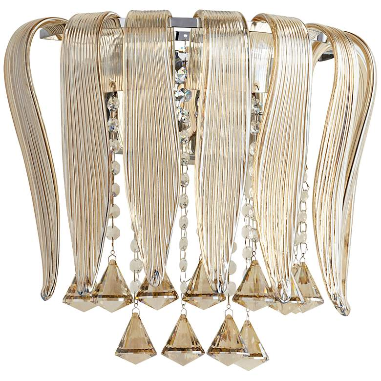 """Olivia 12 1/4"""" Wide Cognac Glass Wall Sconce"""