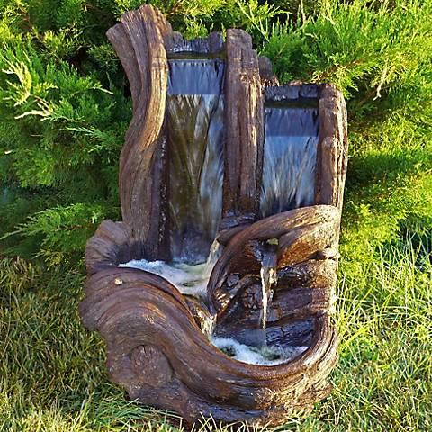 "Henri Studio 37 1/2""H Relic Hi-Tone Twin Falls Log Fountain"