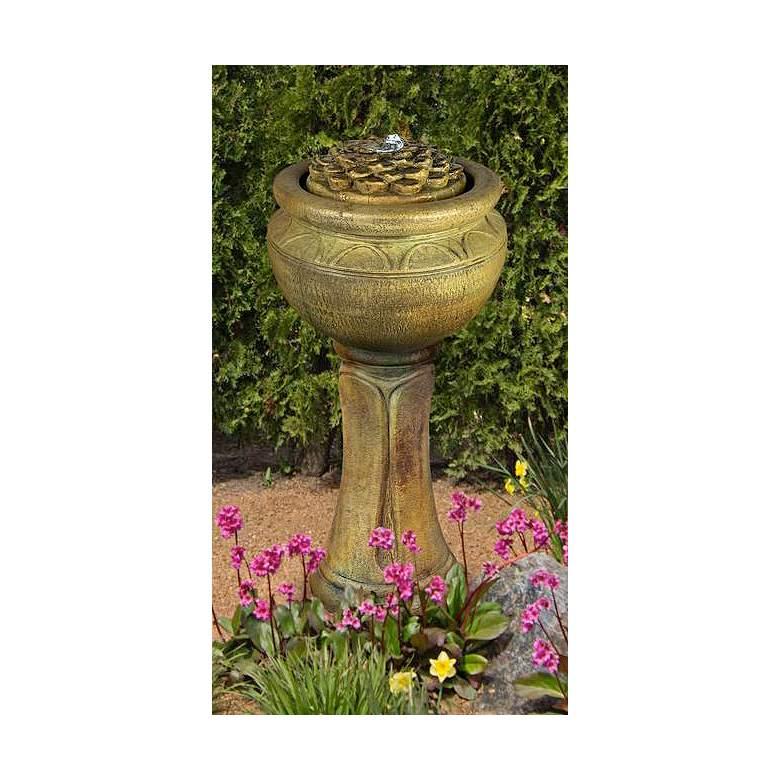 "Henri Studio 37"" High Dahlia Tall Patio Bubbler Fountain"