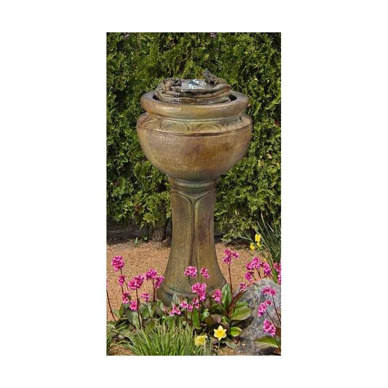 """Henri Studio 38""""H Nebbia Frogs Tall Patio Bubbler Fountain"""