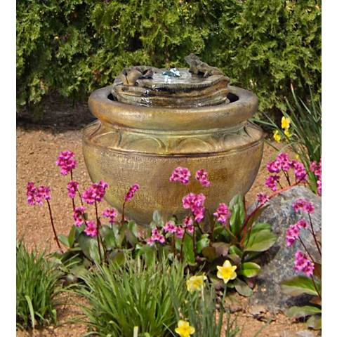 "Henri Studio 18""H Relic Nebbia Frogs Patio Bubbler Fountain"