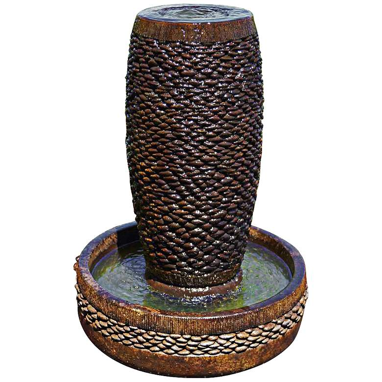 """Shimmering Stones 32"""" High Rustic Modern Bubbler Fountain"""