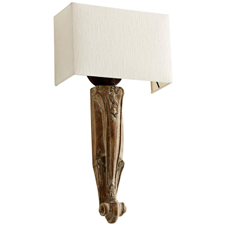 """Serena 12 1/2"""" Wide Limed Gracewood Wall Sconce"""
