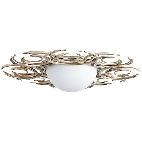 "Vivian 29 3/4"" Wide Silver Leaf Glass Iron Ceiling Light"