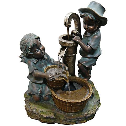 "Fetching Boy and Girl Tabletop 20""H Indoor-Outdoor Fountain"