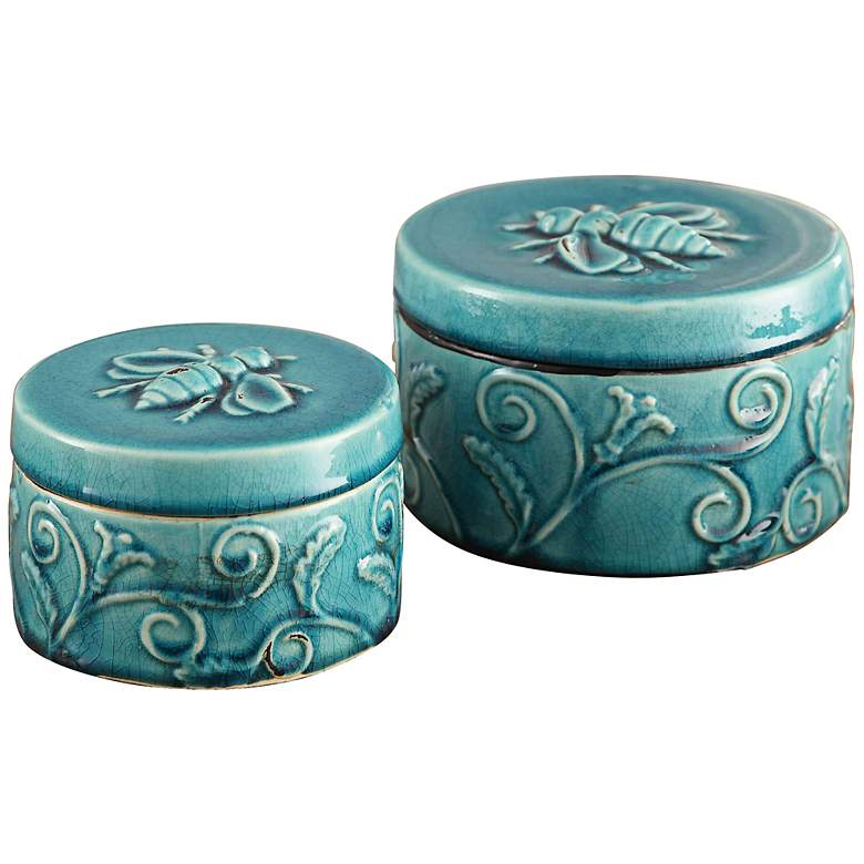 Crestview Collection Round Ornate Boxes Set of 2