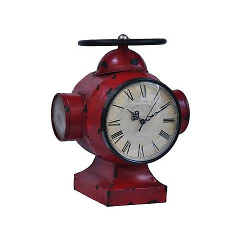 "Crestview Collection Red 12 1/2"" High Valve Clock 1"