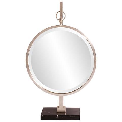 """Howard Elliott Bright Silver Medallion 18"""" x 30"""" Mirror"""