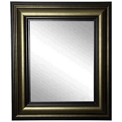 "Glendford Bronze Antiqued Stepped 36"" x 42"" Wall Mirror"