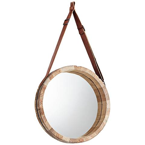 """Canteen Wood 24 1/2"""" Round Large Wall Mirror"""