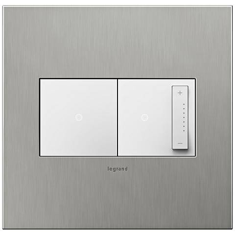 Brushed Stainless 2-Gang Real Wall Plate w/ Switch and Dimmer