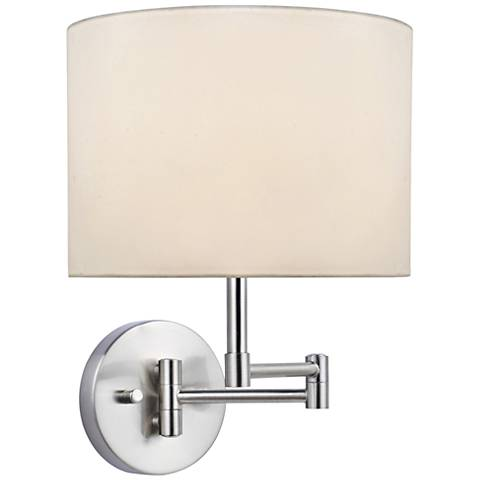 Lite Source Kasen White Shade Polished Steel Wall Lamp