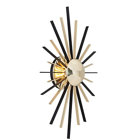 "Atomic 21 3/4"" High Brass and Black LED Wall Sconce"