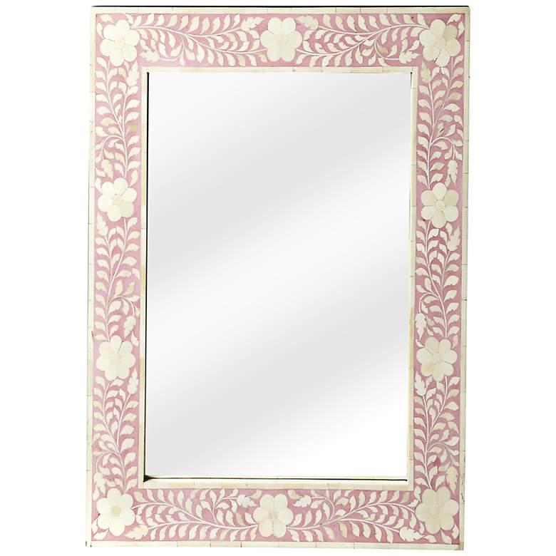 """Butler Vivienne Pink Bone Inlay 24"""" x 30"""" Wall Mirror"""