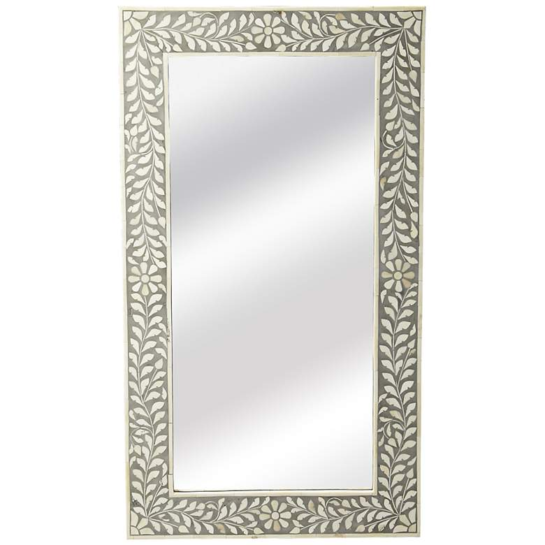 "Butler Laviano Gray Bone Inlay 20 1/2"" x 36 1/2"" Wall Mirror"