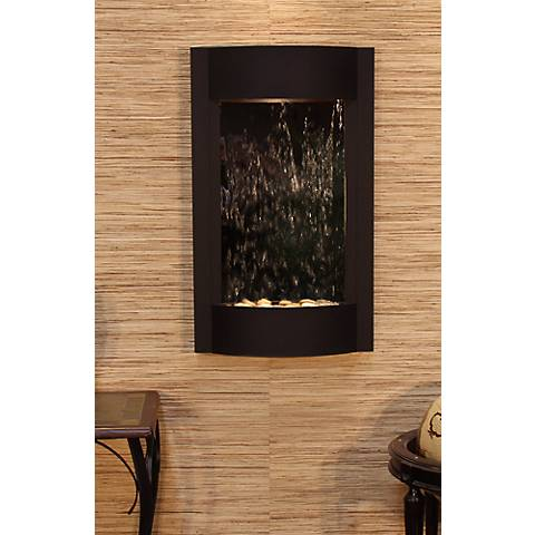 Serene Waters Mirror Textured Black Wall Fountain