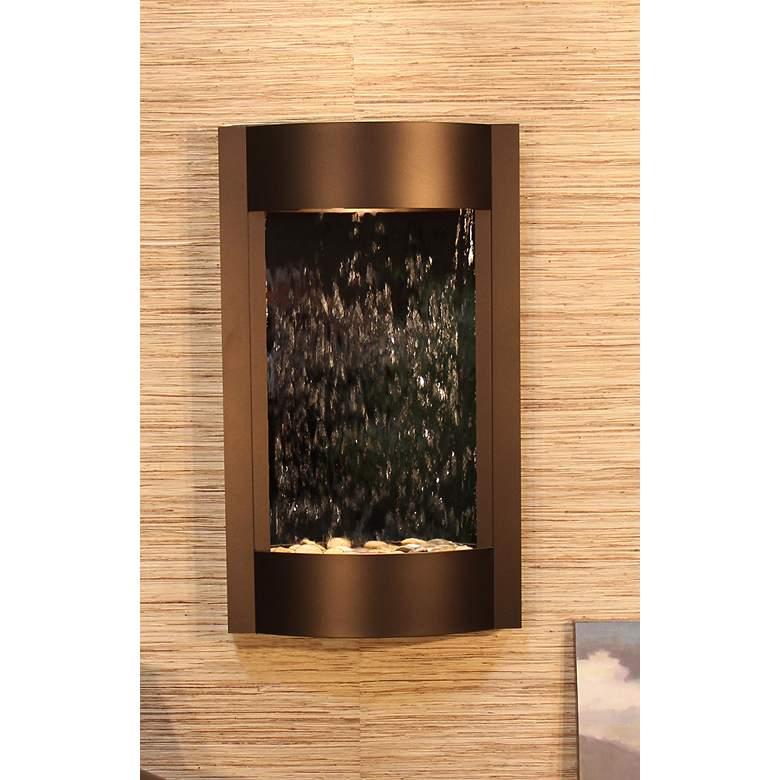 "Serene Waters 36"" High Mirror Bronze Modern Wall Fountain"