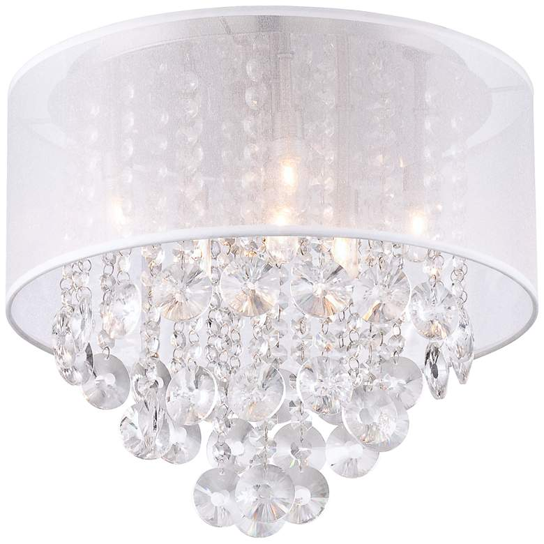 "Bretton Silver Shade 16"" Wide Crystal Ceiling Light"