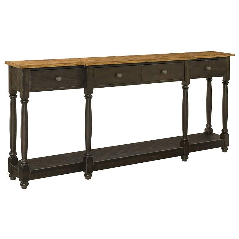 "Hidden Treasures 70"" Wide Farmhouse Oak Wood Console Table"