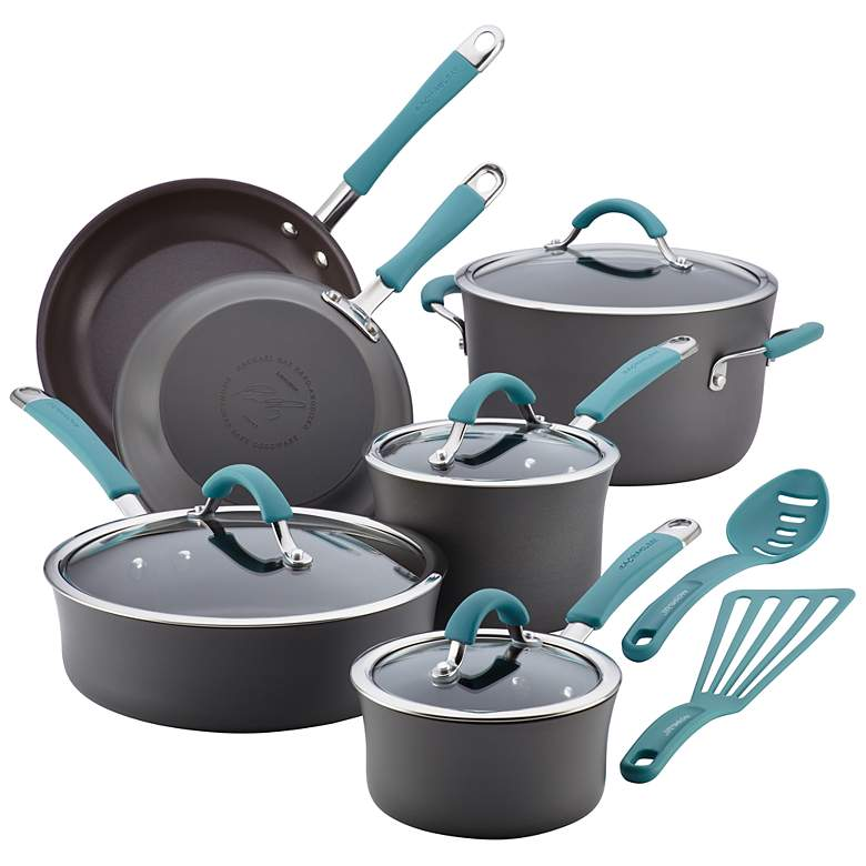 Rachael Ray Gray and Blue Nonstick 12-Piece Cookware