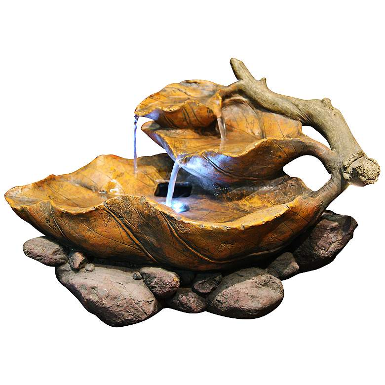 """Woody Leaf LED 9"""" High Tabletop Indoor - Outdoor Fountain"""