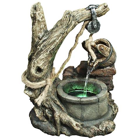 "Bucket and Well Aged Wood 13"" High Tabletop Fountain"