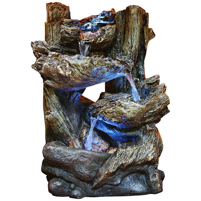 "Tiered Log LED Indoor - Outdoor 14"" High Tabletop Fountain"