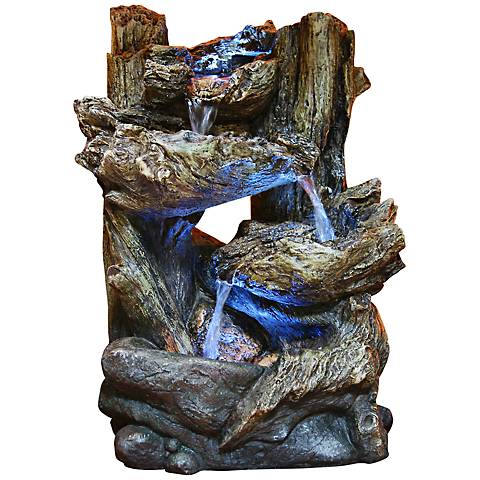 Tiered Log Led Indoor Outdoor 14 Quot High Tabletop Fountain