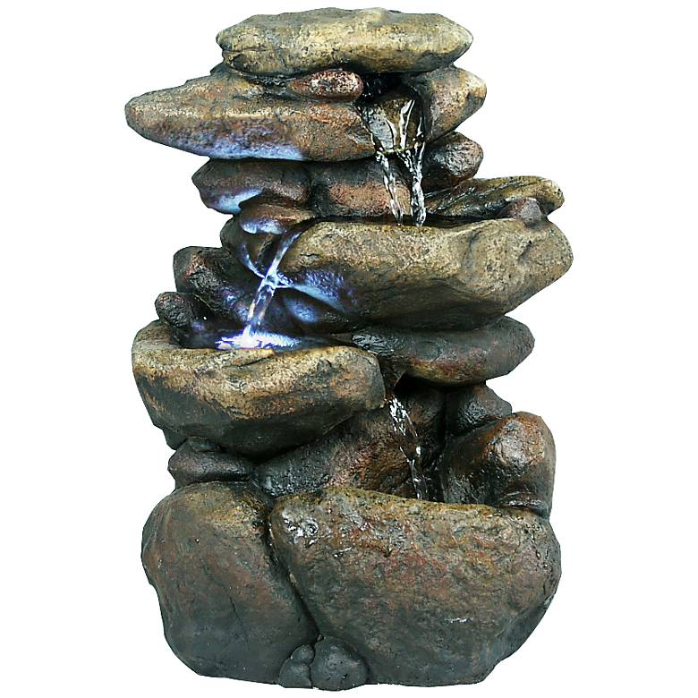"""Rock Formation 3-Tier LED 11"""" High Tabletop Fountain"""