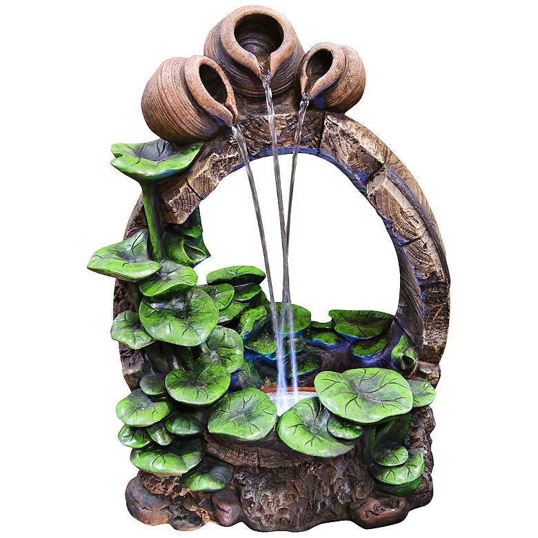 "Pots and Water Lilies LED 22"" High Floor Fountain"