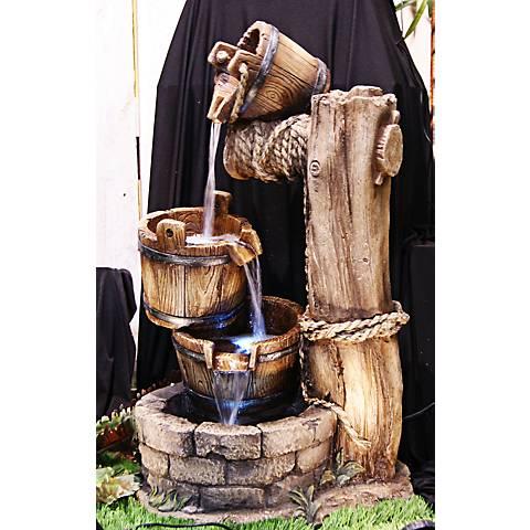 """Tiered Barrels LED Indoor - Outdoor 30"""" High Floor Fountain"""