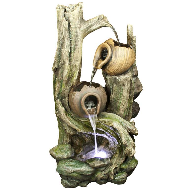"Rainforest 39"" High Waterfall Tiered Jars LED Floor"