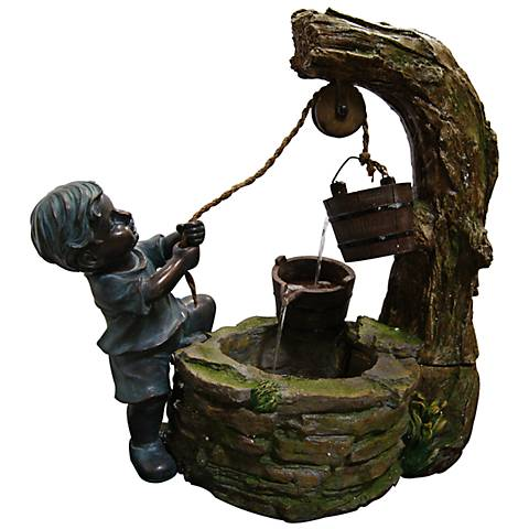 """Fetching Water Boy Tabletop 23""""H Indoor - Outdoor Fountain"""