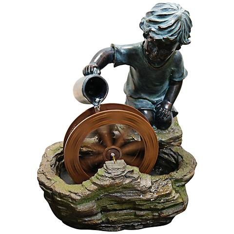 "Water Wheel Boy Tabletop 20"" High Indoor - Outdoor Fountain"