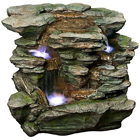 """Rainforest Waterfall Stacked LED 25"""" High Floor Fountain"""