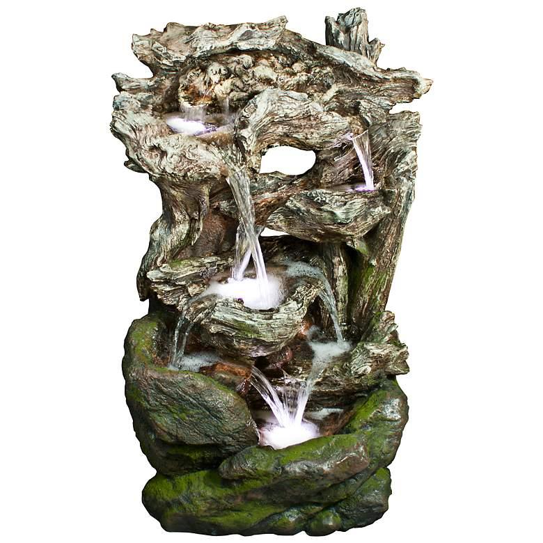 "Rainforest Waterfall Mossy 39"" High LED Floor Fountain"