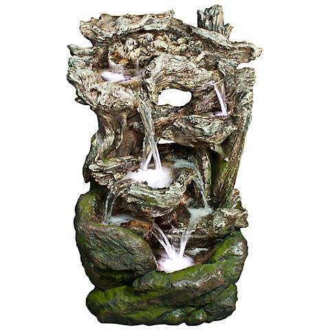 "Rainforest Waterfall Mossy 39"" High LED Floor Fountain"